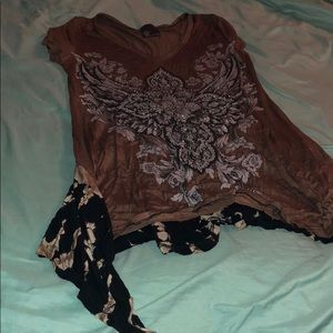 Brown sparkly blouse
